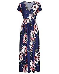 OUGES Women's V-Neck Pattern Pocket Maxi Long Dress(Floral-7,XL)