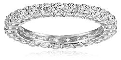 Platinum Plated Sterling Silver Round Cubic Zirconia Eternity Band Ring (2.5mm), Size 6