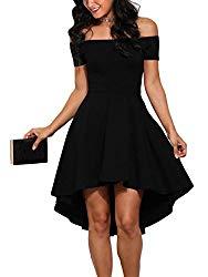 Sidefeel Women Off Shoulder Sleeve High Low Skater Dress X-Large Black