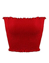 Sweetbei J Womens Strapless Pleated Summer Sexy Bandeau Tube Crop Tops Red M