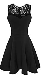 Sylvestidoso Women's A-Line Sleeveless Pleated Little Black Cocktail Party Dress with Floral Lace (L, Black)