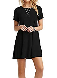 TINYHI Women's Swing Loose Short Sleeve Tshirt Fit Comfy Casual Flowy Tunic Cotton Dress Black,Large