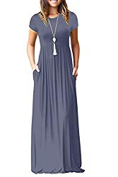 Viishow Women's Short Sleeve Loose Plain Maxi Dresses Casual Long Dresses with Pockets (L, Purple Gray)
