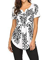 Work Shirts,Women's V Neck Short Sleeve Summer Casual Pleated Henley T-Shirt Tops Black,XL