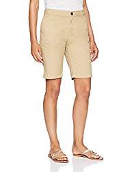 Amazon Essentials Women's 10″ Inseam Solid Bermuda Short Shorts, Khaki, 14