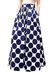 CHOiES record your inspired fashion Choies Women's White Contrast Polka Dot Print Maxi Skirt 2X