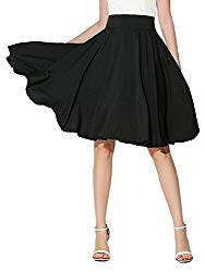 CHOiES record your inspired fashion Women's Casual Plain High Elastic Waist Plus Size Midi Skater Skirt 3X