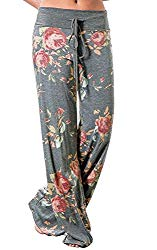 NEWCOSPLAY Women's High Waist Casual Floral Print Drawstring Wide Leg Pants (XL, 0447-grey)
