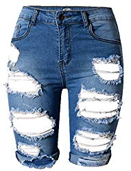 OLRAIN Womens High Waist Ripped Hole Washed Distressed Short Jeans 14 Blue