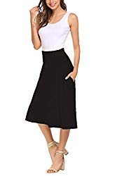 Qearal A Line Skirts for Women Knee Length Elastic High Waist with Pockets Cotton Flare Skirts (Black, L)