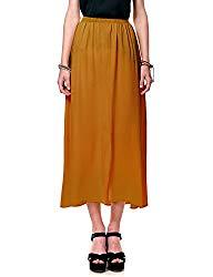 Regna X Boho for Women Solid Comfort fit Lightweight Brown Large Full Long Chiffon Dress Skirt