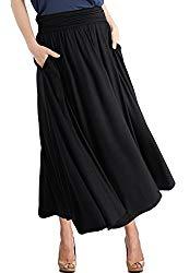 TRENDY UNITED Women's High Waist Fold Over Pocket Shirring Skirt ,Black-ankle,Small