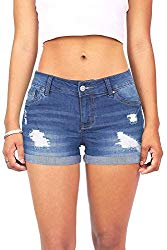 Wax Women's Juniors Body Enhancing Denim Shorts (M, Med. Denim)
