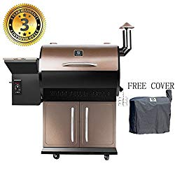 Wood Pellet Grill & Smoker with Patio Cover,700 Cooking Area 7 in 1- Electric Digital Controls Grill for Outdoor BBQ Smoke, Roast, Bake, Braise and BBQ with Storage Cabinet (Free Grill Cover)
