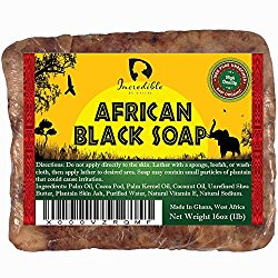 #1 Best Quality African Black Soap – Bulk 1lb Raw Organic Soap for Acne, Dry Skin, Rashes, Burns, Scar Removal, Face & Body Wash, Authentic Beauty Bar From Ghana West Africa – Incredible By Nature