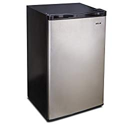 Della 3.2 Cu. Ft. Compact Refrigerator and Freezer Energy Saving, Reversible Door, Stainless Steel