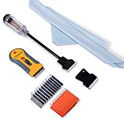 FOSHIO Multi-Purpose Window Tint Removal Tool Set with Long Handle Razor Blade Scraper, Retracted Metal Razor, Mini Plastic Scraper, Microfiber Cleaning Cloth, 20 Bonus Razor Blades