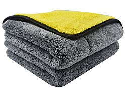 Sinland 1000gsm Ultra Thick Plush Microfiber Car Cleaning Towels Buffing Cloths Super Absorbent Drying Auto Detailing Towel (16″x16″, 2Pack(Yellow/Grey x 2))
