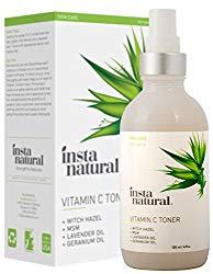InstaNatural Vitamin C Facial Toner – 100% Natural & Organic Anti Aging Face Spray – Pore Minimizer & Calming Skin Treatment Sensitive, Dry & Combination Types Prep for Serums & Moisturizers 4 OZ