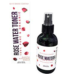 NEW! Premium Organic Rose Water Toner for Toning Face and Soothing Skin, 4 oz, Natural and Pure Facial Toner Comes Stored in an Amber Glass Bottle with Sprayer, by White Moose