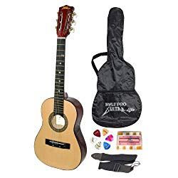 "Beginner 30"" Classical Acoustic Guitar – 6 String Linden Wood Traditional Style Guitar w/Wood Fretboard, Case Bag, Nylon Strap, Tuner, 3 Picks – Great for Beginner, Children Use – Pyle PGAKT30"