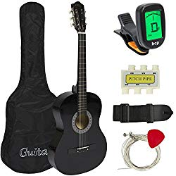 "Best Choice Products Beginners 38"" Acoustic Guitar with Case, Strap, Digital E-Tuner, and Pick, (Black)"
