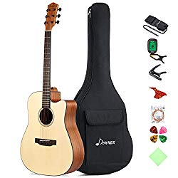 Donner DAG-1C Beginner Acoustic Guitar Full Size, 41″ Cutaway Guitar Bundle with Gig Bag Tuner Capo Picks Strap String