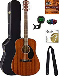Fender CD-60S Dreadnought Acoustic Guitar – All Mahogany Bundle with Hard Case, Tuner, Strap, Strings, Picks, Austin Bazaar Instructional DVD, and Polishing Cloth