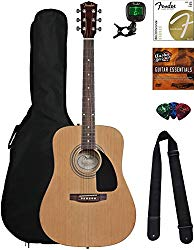 Fender FA-100 Acoustic Guitar Bundle with Gig Bag, Tuner, Strings, Strap, Picks, and Austin Bazaar Instructional DVD