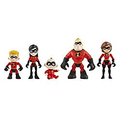 The Incredibles 2 Family 5-Pack Junior Supers Action Figures, Approximately 3″ Tall
