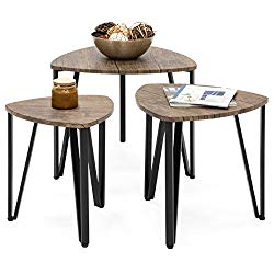 Best Choice Products Set of 3 Modern Leisure Wood Nesting Coffee Side End Tables for Living Room, Office – Brown