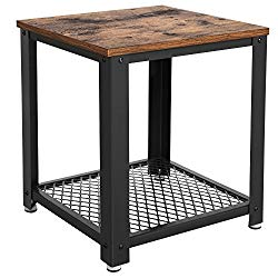 SONGMICS Vintage End Table, 2-Tier Side Table with Storage Shelf for Living Room, Wood Look Accent Furniture with Metal Frame, Easy Assembly ULET41X