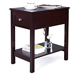 SONGMICS Side Table with Sliding Drawer Storage Bedside End Table Night Stand for Living Room Brown ULET30BR