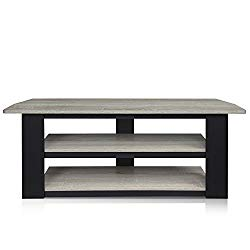 Furinno 12186GYW/BK Parsons Tv Entertainment Center, 42″, Grey