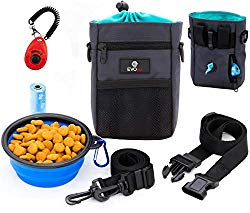 EVOest Dog Treat Pouch, Training Bag with Dog Training Clicker and Built-in Waste Bags Dispenser,Deluxe Design Perfect Carry Pet Toys & Treats,Waist & Shoulder Strap + Bonus Collapsible Bowl