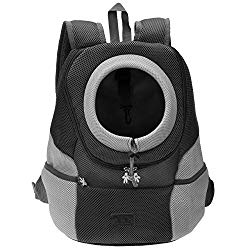 Mogoko Airline Approved Cat Dog Backpack, Puupy Pet Carrier Front Bag with Breathable Head Out Design and Double Mesh Padded Shoulder for Outdoor Travel Hiking (M, Black)