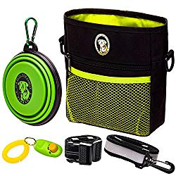 PERRAMA Dog Treat Bag –Training Pouch for Small and Large Dogs with Clicker and Collapsible Food Bowl BPA Free – Pet Treats Tote Bag with Waist and Shoulder Reflective Straps and Belt Clip