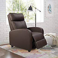 Homall Manual Recliner Chair Padded PU Leather Home Theater Seating Modern Chaise Couch Brown Lounger Sofa Seat (Brown)