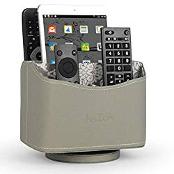 Ms.Box Media Storage PU Leather Spinning Remote Control Holder Organizer, Remote Caddy, Remote Controller Holder with Soft Fabric Lining, Grey, 7.3X 5.5 x 6 inches