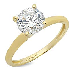 2.20 CT Round Cut 4-prong Solitaire anniversary Promise Bridal Engagement Wedding Ring 14k Yellow Gold, Clara Pucci