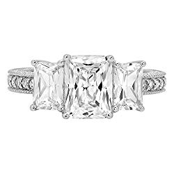 4.46ct Brilliant Emerald Cut Accented 3 Stone Promise Anniversary Statement Engagement Bridal Wedding Band For Women Ring For Women Solid 14k White Gold