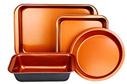 Copper Bakeware Set – Includes an Oblong Rectangular Pan, Brownie Pan, Round Cake Pan, and Meat Loaf Pan, Standard