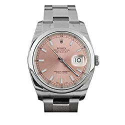 Rolex Datejust 36mm Smooth Pink Dial Stainless Steel Watch 116200