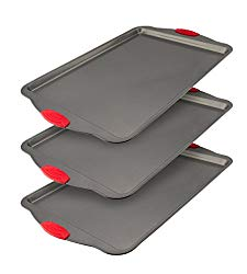 Boxiki Kitchen Nonstick Baking Sheet Pan | 100% Non-Toxic Rimmed Stainless Steel Baking Sheet, No Chemicals or Aluminum | Dent, Warp & Rust Resistant Heavy Gauge Steel Oven Baking Sheet (3)