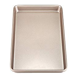 Chef Made 2018 Chefmade 17-Inch Rimmed Baking Non-Stick Carbon Steel Cookie Sheet Pan, Fda Approved for Oven Roasting Meat Bread Jelly Roll Battenberg Pizzas Pa, 17 X 12 Inch, Champagne Gold