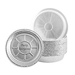 Jetfoil 9 Inch Round Disposable Aluminum Foil Pans With Clear Plastic Lids, Pack Of 40 Sets