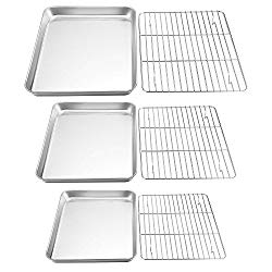 TeamFar Baking Sheet with Rack Set, Stainless Steel Cookie Sheet Baking Pans with Cooling Rack, Non Toxic & Healthy, Rust Free & Heavy Duty, Mirror Finish & Easy Clean, Dishwasher Safe – 6 Pieces