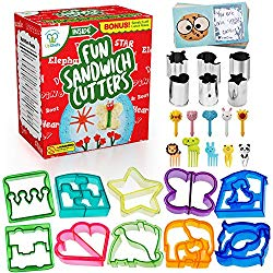 Fun Sandwich and Bread Cutter Shapes for kids – 10 Crust & Cookie Cutters – PLUS 6 FREE Mini Heart & Flower Stainless Steel Vegetable & Fruit Stamp Set and 10 Food Picks Loved by both Boys & Girls!