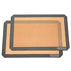 Gridmann Pro Silicone Baking Mat – Set of 2 Non-Stick Half Sheet (16-1/2″ x 11-5/8″) Food Safe Tray Pan Liners