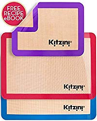 Silicone Baking Mat Set of 3 – Two Half and One Quarter Non Stick Sheet Mats – Large BPA Free Professional Grade Liner Sheets – Perfect Bakeware for Making Cookies, Macarons, Bread and Pastry